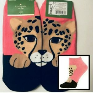 New♠kate spade Pink Leooard Socks!